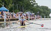 Henley on Thames, England, United Kingdom, Friday, 05.07.19, K. Borch Norway, NOR,  progressing down the course, in his Heat, of the Diamond Challenge ScullsHenley Royal Regatta,  Henley Reach, [©Karon PHILLIPS/Intersport Images]<br /> <br /> 17:52:15 1919 - 2019, Royal Henley Peace Regatta Centenary,