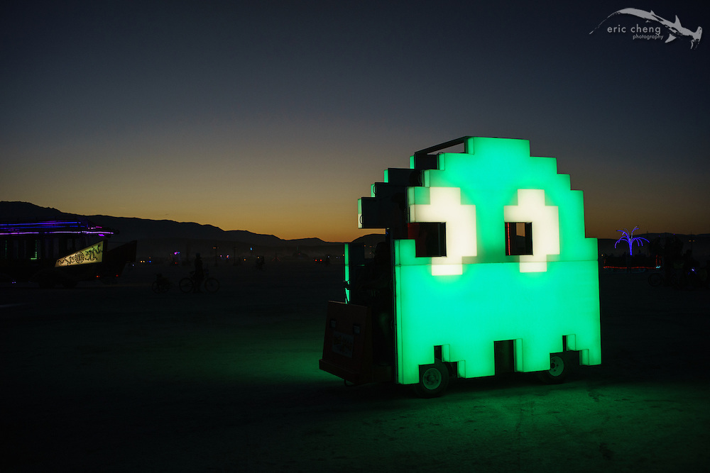 Mobile Pac-man ghost on the playa. Burning Man 2014