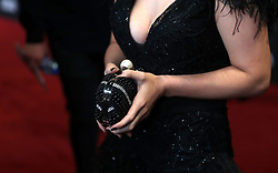 Close up of Kerry Ingram's clutch bag during the Game of Thrones Premiere, held at Waterfront Hall, Belfast.