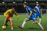 Hartlepool United striker Rhys Oates and Michael Harriman (Defender) of Wycombe Wanderers compete for the ball cduring the Sky Bet League 2 match between Hartlepool United and Wycombe Wanderers at Victoria Park, Hartlepool, England on 16 January 2016. Photo by George Ledger.
