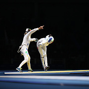 Fencing - Olympics: Day 1  Nathalie Moellhausen, Brazil, in action against Lauren Rembi, France, during the Women's Épée Individual Quarterfinal at Carioca Arena 3 on August 6, 2016 in Rio de Janeiro, Brazil. (Photo by Tim Clayton/Corbis via Getty Images)