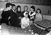 29/03/1963<br /> 03/29/1963<br /> 29 March 1963<br /> Fashion models visit Bolands Biscuit Factory at Deansgrange, Dublin. The models on their tour of the factory.
