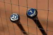 PHOENIX, AZ - JUNE 09:  A top view of the bats of Eric Thames #7 and Keon Broxton #23 of the Milwaukee Brewers prior to the MLB against the Arizona Diamondbacks at Chase Field on June 9, 2017 in Phoenix, Arizona.  (Photo by Jennifer Stewart/Getty Images)