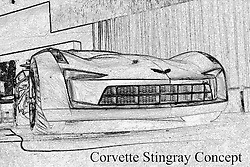 11 February 2009:  CHEVROLET STING RAY CONCEPT: Chevrolet introduced for the first time ever? a new automotive super-star? the Chevrolet Sting Ray concept at the'09 Chicago Auto Show. General Motors Vice Pres., Design Ed Welburn, unveiled the Sting Ray concept, which pays homage to the 1959 Sting Ray Racer and 1963 Corvette Sting Ray Split-Window Coupe. Notice the wide shoulders, sculpted fender forms, side air extractors, piercing nose, and of course, the legendary Split-Window design feature. There's even a modern interpretation of the Sting Ray badge and some interesting aircraft-inspired features at the back. This futuristic vision of an American performance icon plays the role of ?Sideswipe? in the upcoming film Transformers II: Revenge of the Fallen..The Chicago Auto Show is a charity event of the Chicago Automobile Trade Association (CATA) and is held annually at McCormick Place in Chicago Illinois.