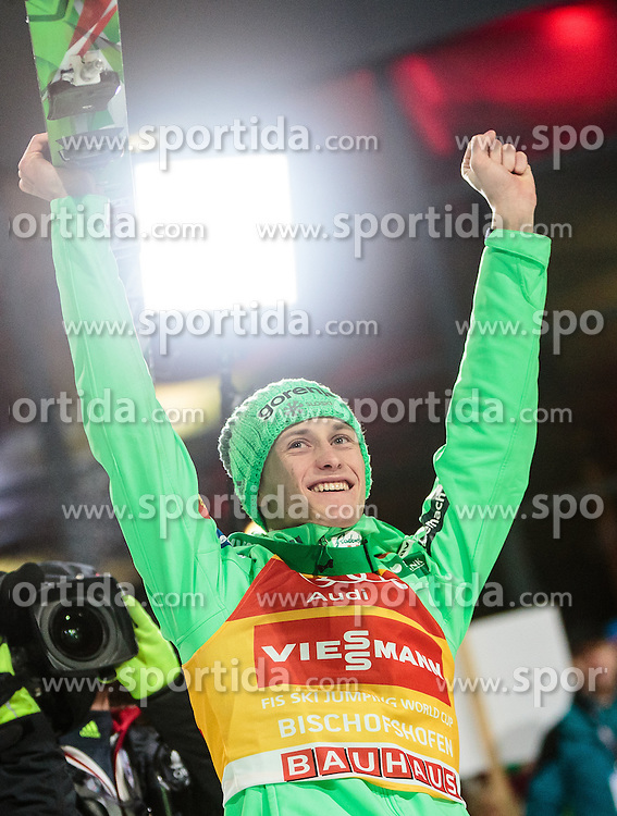 06.01.2016, Paul Ausserleitner Schanze, Bischofshofen, AUT, FIS Weltcup Ski Sprung, Vierschanzentournee, Bischofshofen, Siegerehrung Tageswertung, im Bild Peter Prevc (SLO) // Peter Prevc of Slovenia celebrate on the podium of the Four Hills Tournament of FIS Ski Jumping World Cup at the Paul Ausserleitner Schanze in Bischofshofen, Austria on 2016/01/06. EXPA Pictures © 2016, PhotoCredit: EXPA/ JFK