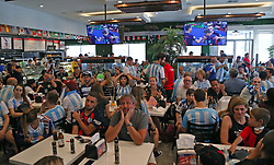 June 21, 2018 - Miami Beach, FL, USA - Fans of Argentina's national soccer team react after Croatia scores the third goal as they watch a television broadcast of the Russia 2018 World Cup match between Argentina and Croatia at Manolo on Thursday, June 21, 2018 in Miami Beach, Fla. Croatia won 3-0. (Credit Image: © David Santiago/TNS via ZUMA Wire)