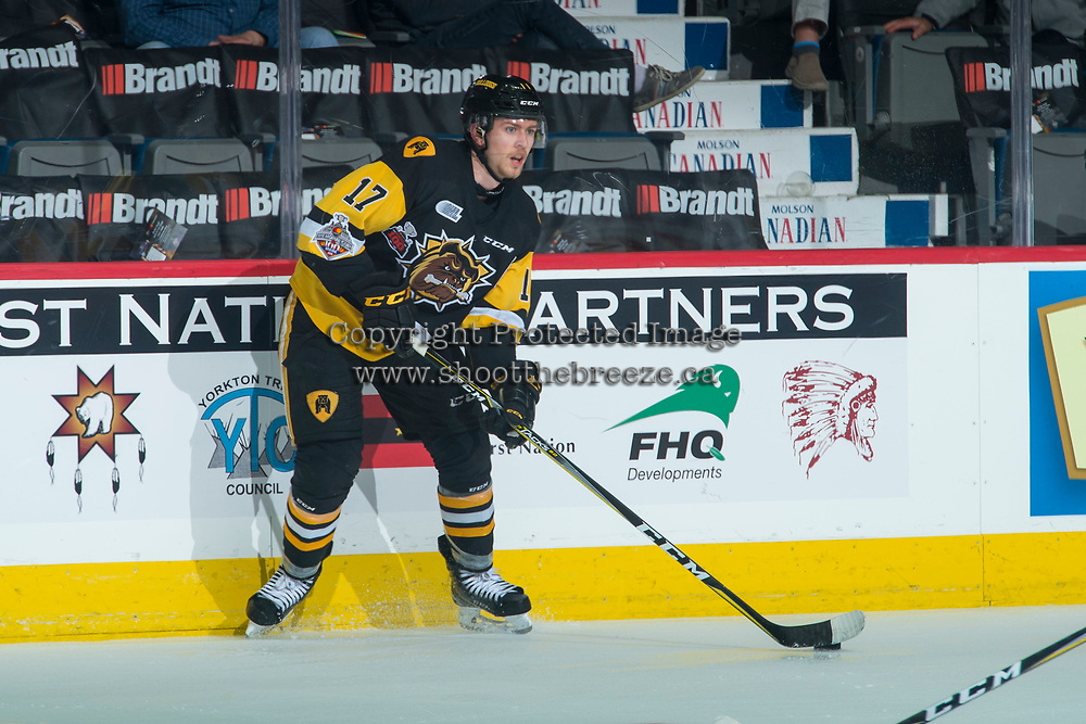 REGINA, SK - MAY 22: Brandon Saigeon #17 of Hamilton Bulldogs looks to pass the puck against the Acadie-Bathurst Titan at the Brandt Centre on May 22, 2018 in Regina, Canada. (Photo by Marissa Baecker/CHL Images)
