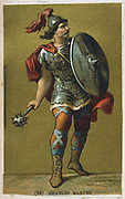 Charles Martel (c688-741) 'The Hammer'. Frankish king, grandfather of Charlemagne and founder of the Carolingian dynasty. Defeated Moors at battle of Tours, near Poitiers 732. 19th century chromolithograph.