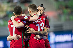 Players of National team of Portugal celebrate goal during futsal match between National teams of Ukraine and Portugal at Day 6 of UEFA Futsal EURO 2018, on February 4, 2018 in Arena Stozice, Ljubljana, Slovenia. Photo by Urban Urbanc / Sportida