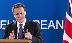 British Prime Minister David Cameron speaks during a press conference at the end of the two-day EU summit in Brussels, capital of Belgium,  February 8, 2013. Photo by Imago / i-Images...UK ONLY