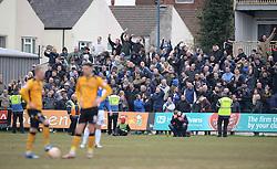 Bristol Rovers fans celebrate as newport wait for the restart.  - Mandatory byline: Alex James/JMP - 19/03/2016 - FOOTBALL - Rodney Parade - Newport, England - Newport County v Bristol Rovers - Sky Bet League Two