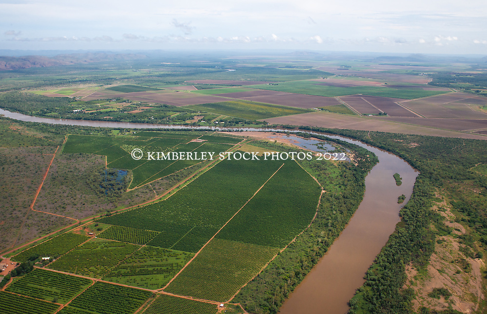 Aerial view of farmland near Kununurra in the east Kimberley