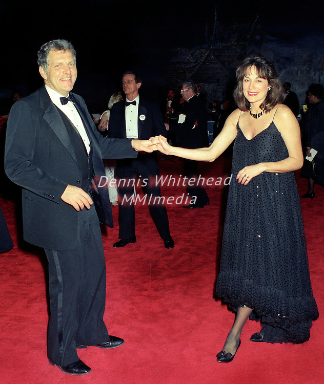 William Bennett and his wife Elayne, who was pregnant at the time of this photo, dance at the January 20, 1989 Inaugural Ball at Washington, DC's Air and Space Museum.