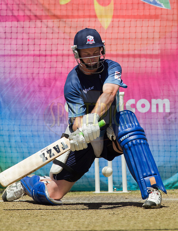 Colin Munro plays a shot in the nets during the Auckland Aces practice session held a Kingsmead Stadium in Durban on the 18th October 2012..Photo by Rogan Ward/SPORTZPICS/CLT20