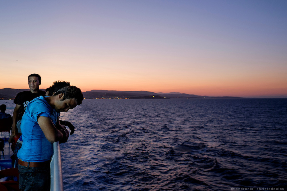 Refugees leaving Lesvos island on teh ferry to Athens.