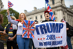 © Licensed to London News Pictures. 05/09/2018. London, UK. Pro-Brexit demonstrators and some far-right sympathisers campaign outside the Houses of Parliament, calling for Britain's immediate exit from the EU, and the re-instating of former Foreign Secretary Boris Johnson. Photo credit : Tom Nicholson/LNP