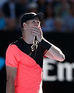 KYLE EDMUND (GBR) wartet auf die Hawkeye Entscheidung beim Matchball,Emotion,<br /> <br /> <br /> Tennis - Australian Open 2018 - Grand Slam / ATP / WTA -  Melbourne  Park - Melbourne - Victoria - Australia  - 23 January 2018.