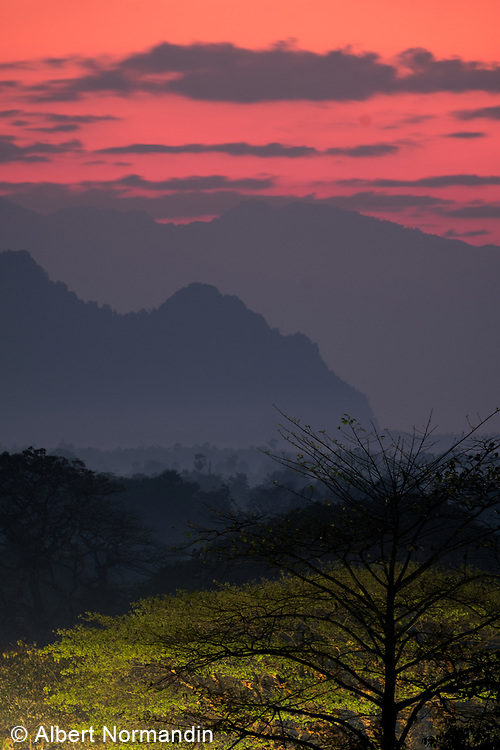 Early morning landscape and mountains, Hpa-an, Myanmar