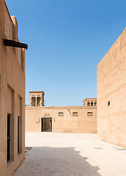 Camel Museum and historic buildings in Heritage area at Al Shindagha,Dubai United Arab Emirates
