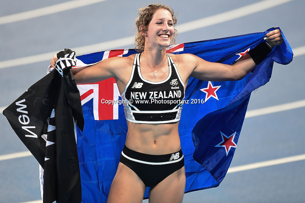 New Zealand's Eliza McCartney celebrates winning bronze during the Women's pole volt at Olympic Stadium at the 2016 Rio Olympics on Friday the 19th of August 2016. © Copyright Photo by Marty Melville / www.Photosport.nz