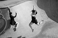 Dancers Jill Stifel and Jamie Murphy improvise at an empty skate park outside of Pittsburgh, PA.