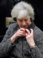 ©  London News Pictures. 31/10/2016. London, UK. British prime minister THERESA MAY struggles to attached  a poppy as she meets veterans involved in the Royal British Legion on the steps of 10 Downing Street to donate to the Poppy Appeal. The Poppy Appeal raises funds for the armed forces  by selling red poppies that are worn around remembrance Sunday, to remember fallen Service men and women killed in conflict. Photo credit: Ben Cawthra/LNP