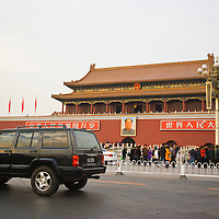 American car on the street of Beijing, Forbidden City, Tiananmen Gate of Heavenly Peace
