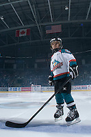 KELOWNA, CANADA - NOVEMBER 1:  The Pepsi Save-On foods player of the game lines up with the Kelowna Rockets against the Kamloops Blazers at the Kelowna Rockets on November 1, 2012 at Prospera Place in Kelowna, British Columbia, Canada (Photo by Marissa Baecker/Shoot the Breeze) *** Local Caption ***