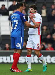 Joe Walsh of Milton Keynes Dons is consoled by Steven Taylor of Peterborough United after being sent-off - Mandatory by-line: Joe Dent/JMP - 30/12/2017 - FOOTBALL - Stadium MK - Milton Keynes, England - Milton Keynes Dons v Peterborough United - Sky Bet League One