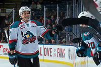 KELOWNA, CANADA - JANUARY 30: Carsen Twarynski #18 of the Kelowna Rockets skates to the bench to celebrate a second period goal against the Medicine Hat Tigers on January 30, 2017 at Prospera Place in Kelowna, British Columbia, Canada.  (Photo by Marissa Baecker/Shoot the Breeze)  *** Local Caption ***