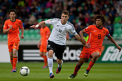 Maximilian Dittgen of Germany and Nathan Ake of Netherlands during the UEFA European Under-17 Championship Final match between Germany and Netherlands on May 16, 2012 in SRC Stozice, Ljubljana, Slovenia. (Photo by Urban Urbanc / Sportida.com)