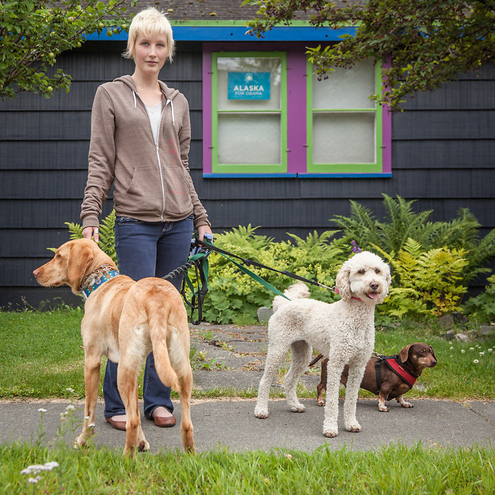 "Recent college graduate and dog walker Janna Christen near the corners of 13th Ave. and G Street in Anchorage's South Addition neighborhood  christen.janna@gmail.com  ""I'm saving my money so I can travel to China."""