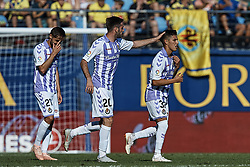 September 30, 2018 - Vila-Real, Castellon, Spain - Leo Suarez (R) of Real Valladolid celebrates a goal after scoring next to his teamate Duje Cop during the La Liga match between Villarreal CF and Real Valladolid at Estadio de la Ceramica on September 30, 2018 in Vila-real, Spain  (Credit Image: © David Aliaga/NurPhoto/ZUMA Press)