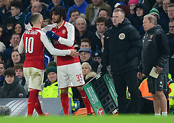 Jack Wilshere of Arsenal comes off with an injury and is replaced by Mohamed Elneny of Arsenal - Mandatory by-line: Alex James/JMP - 10/01/2018 - FOOTBALL - Stamford Bridge - London, England - Chelsea v Arsenal - Carabao Cup semi-final first leg