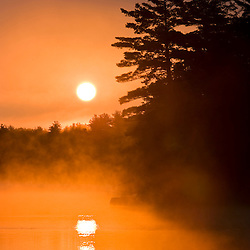 Early morning on Pawtuckaway Lake as seen from Horse Island in New Hampshire's Pawtuckaway State Park.