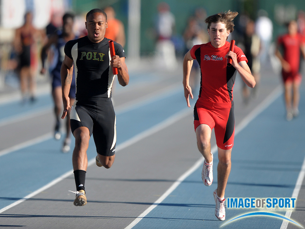 May 28, 2010; Norwalk, CA, USA; Kaelin Clay of Poly (left) holds off Blake Selig of Rio Mesa on the anchor of the 4 x 100-meter relay, 40.78 to 40.97, in the CIF Southern Section Masters Meet at Cerritos College.