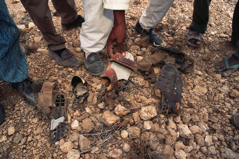 The shoes of landmine victims in Hargeisa, Somaliland. Nearby, a de-mining crew found a mass grave where 200 locals were executed by the Siad Barre governmental troops in 1988. Somaliland is the breakaway republic in northern Somalia that declared independence in 1991 after 50,000 died in civil war March 1992.