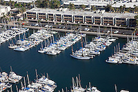 Hundreds of boats and yachts are berthed at Marina Del Rey in Los Angeles.