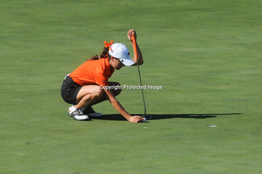 Oklahoma State's Alexis Sadeghy prepares to putt Sunday October 26, 2014 during the 13th annual Landfall Tradition in Wilmington, N.C. (Jason A. Frizzelle)