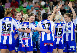 Players of Buducnost celebrate after the handball match between RK Krim Mercator and Buducnost Podgorica (MNE) in season 2011/2012 of EHF Women's Champions League, on February 24, 2012 in Arena Stozice, Ljubljana, Slovenia. Buducnost defeated Krim 27-26. (Photo By Vid Ponikvar / Sportida.com)