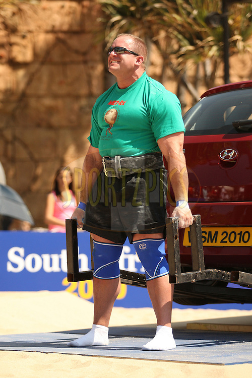 Jason Bergmann (USA) stands strong in the deadlift (for time) during one of the qualifying rounds of the World's Strongest Man competition held in Sun City, South Africa.