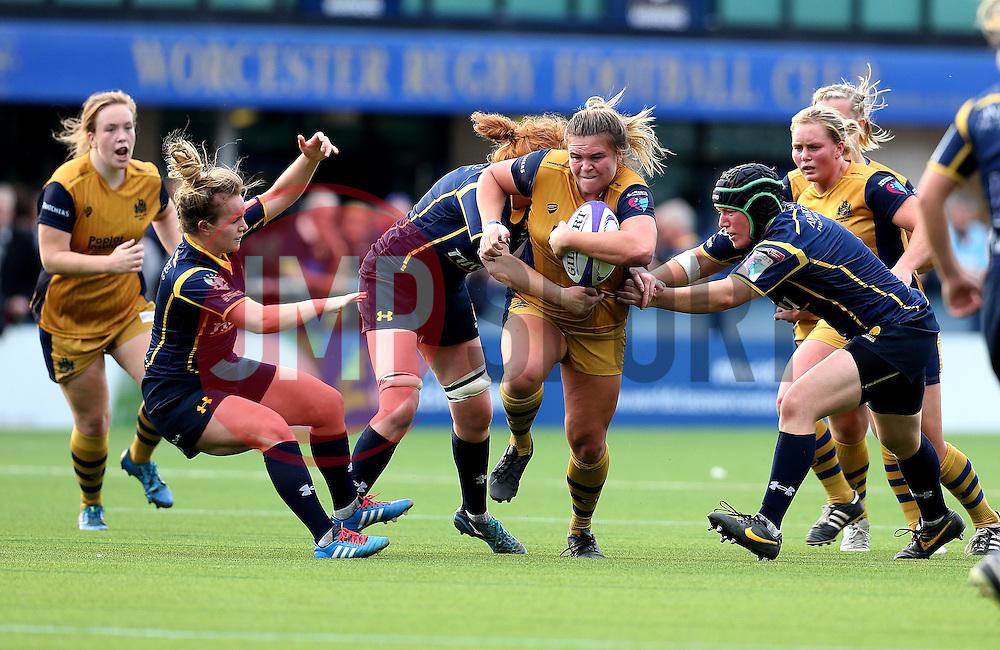 Sarah Bern of Bristol Ladies charges forward with the ball - Mandatory by-line: Robbie Stephenson/JMP - 24/09/2016 - RUGBY - Sixways - Worcester, England - Worcester Valkyries v Bristol Ladies Rugby - RFU Women's Premiership