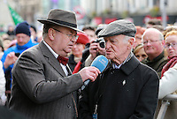 RTE's Joe Duffy pictured  talking to Terrance O Neill, [who cousin  Baby Sean Foster was killed during the 1916 Easter Rising] during his Easter Monday live broadcast in Dublin's O Connell Street . Picture Credit:Frank Mc Grath<br /> 28/3/16