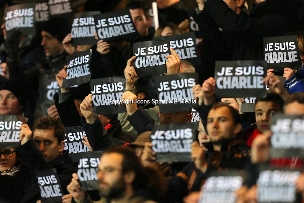Hommage Charlie Hebdo - 10.01.2015 - Guingamp / Lens - 20eme journee de Ligue 1<br />Photo : Vincent Michel / Icon Sport