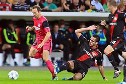 28.09.2011, BayArena, Leverkusen, GER, UEFA CL, Gruppe E, Bayer 04 Leverkusen (GER) vs KRC Genk (BEL), im Bild.Thomas Buffel (Genk #19) (L) gegen Renato Augusto (Leverkusen #10)..// during the UEFA CL, group E, Bayer Leverkusen vs KRC Genk  on 2011/09/28, at BayArena, Leverkusen, Germany. EXPA Pictures © 2011, PhotoCredit: EXPA/ nph/  Mueller *** Local Caption ***       ****** out of GER / CRO  / BEL ******