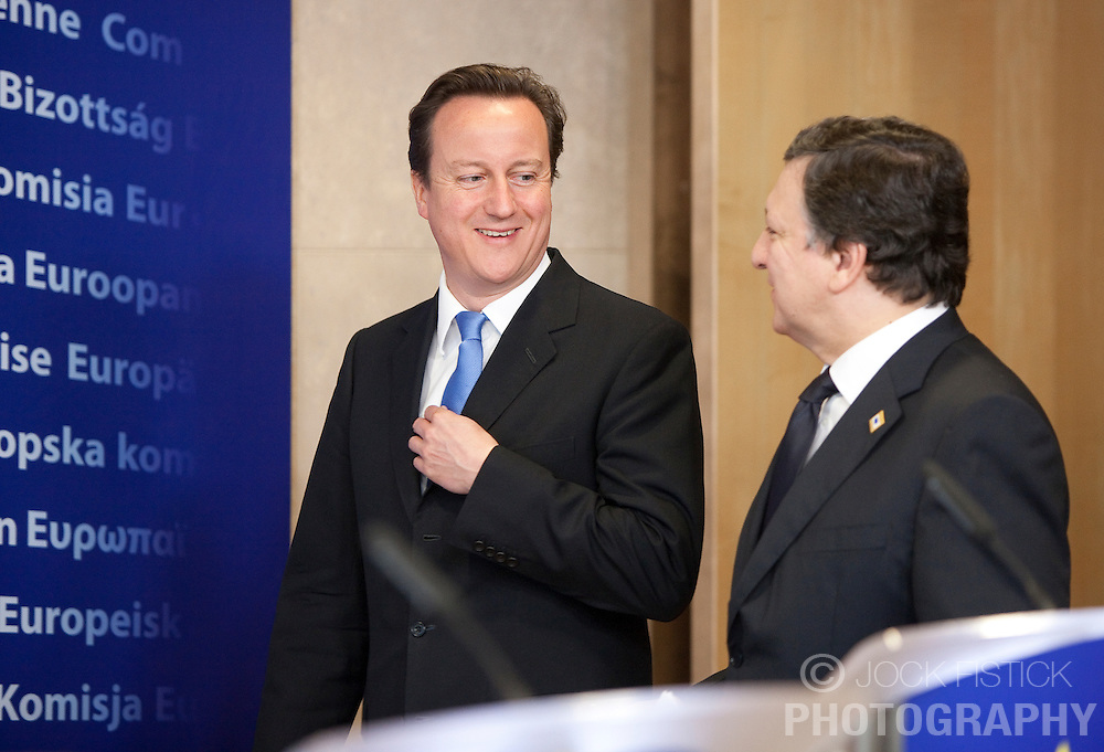 David Cameron, the U.K.'s prime minister, left, is greeted by Jose Manuel, Barroso, president of the European Commission, at the EU Commission headquarters, where the two met for a bilateral meeting prior to the start of the European Summit meeting, in Brussels, on Thursday, June 17, 2010. (Photo © Jock Fistick)
