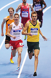 07.03.2014, Ergo Arena, Sopot, POL, IAAF, Leichtathletik Indoor WM, Sopot 2014, Tag 1, im Bild MARCIN LEWANDOWSKI ANDRE OLIVIER // MARCIN LEWANDOWSKI ANDRE OLIVIER during day one of IAAF World Indoor Championships Sopot 2014 at the Ergo Arena in Sopot, Poland on 2014/03/07. EXPA Pictures © 2014, PhotoCredit: EXPA/ Newspix/ Piotr Matusewicz<br /> <br /> *****ATTENTION - for AUT, SLO, CRO, SRB, BIH, MAZ, TUR, SUI, SWE only*****