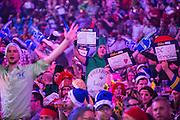 Dart fans at the Alexandra Palace watching the darts during the World Darts Championship at Alexandra Palace, London, United Kingdom on 1st January 2016. Photo by Shane Healey.