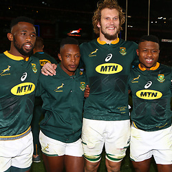 Siya Kolisi (captain) with Sbu Nkosi - RG Snyman and Aphiwe Dyantyi of South Africa during the 2018 Castle Lager Incoming Series 1st Test match between South Africa and England at Emirates Airline Park,<br /> Johannesburg.South Africa. 09,06,2018 Photo by (Steve Haag Sports)