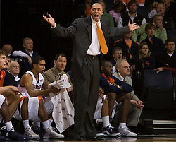 Virginia head coach Dave Leitao disputes a call during the FSU game.  The Virginia Cavaliers fell to the Florida State Seminoles 73-62 in NCAA Basketball at the John Paul Jones Arena on the Grounds of the University of Virginia in Charlottesville, VA on January 24, 2009.